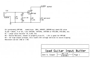 iPad Guitar Interface Schematic