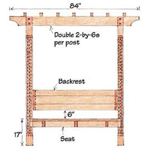 Sunset Garden Arbor Bench Sunset Garden Arbor Bench Plan Front View ...