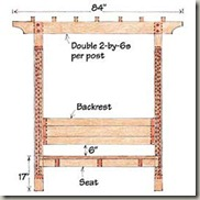Sunset Garden Arbor Bench Plan Front View