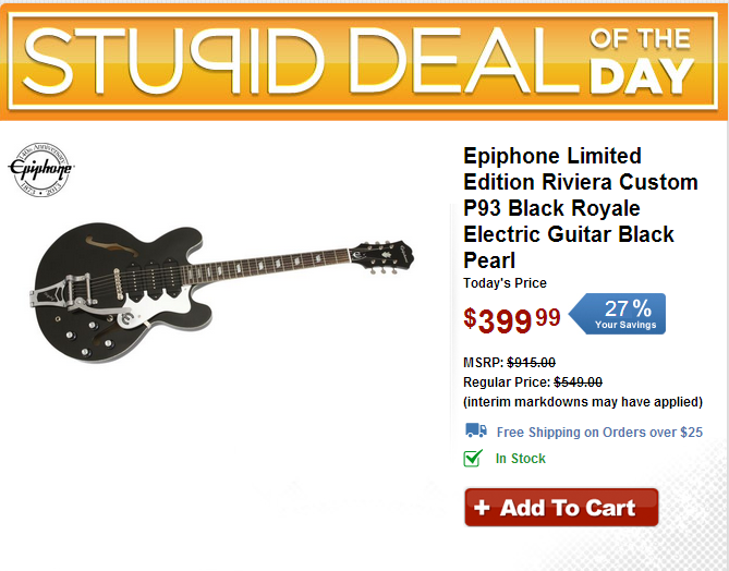Stupid Deal of the Day epiphone riviera p93 planet z epiphone riviera custom p93 wiring diagram at alyssarenee.co