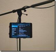 iPad mounted on mic stand