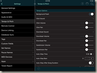 Tempo & Pitch Settings in Set List Maker
