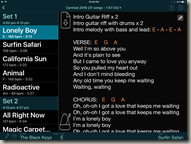 Performance Layout In Set List Maker
